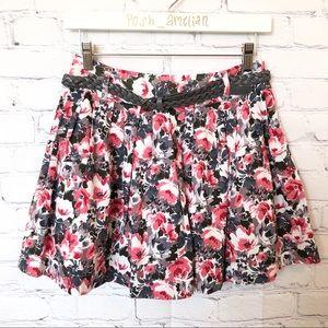 Forever 21 pink & grey floral belted skirt